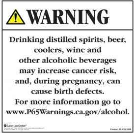 Proposition 65 - Alcoholic Beverage Exposure Warnings