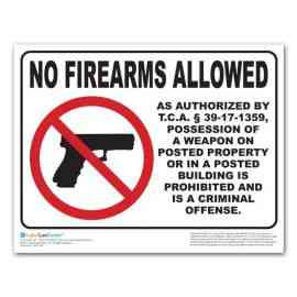 Tennessee No Weapons Allowed Poster