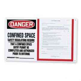 Danger Confined Space Safety Regulations Required Permit Holder Board