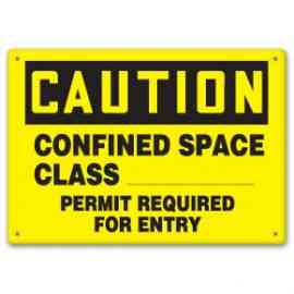 Confined Space Class ___ Permit Required For Entry