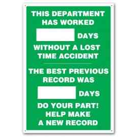 THIS DEPARTMENT HAS WORKED #### DAYS WITHOUT A LOST TIME ACCIDENT THE BEST PREVIOUS RECORD WAS #### DAYS DO YOUR PART! HELP MAKE A NEW RECORD