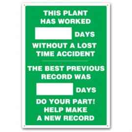 THIS PLANT HAS WORKED #### DAYS WITHOUT A LOST TIME ACCIDENT THE BEST PREVIOUS RECORD WAS #### DAYS DO YOUR PART! HELP MAKE A NEW RECORD