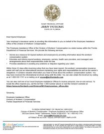 Florida Workers Compensation Notification Letter
