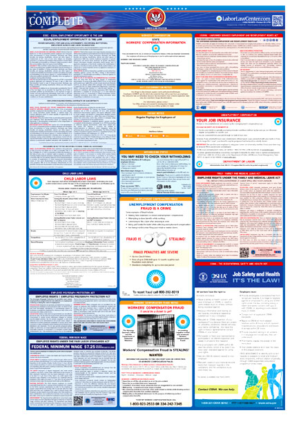 2019 Ohio OH State /& Federal all in one LABOR LAW POSTER workplace compliance