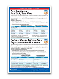 New Brunswick City Paid Sick and Safe Time Poster